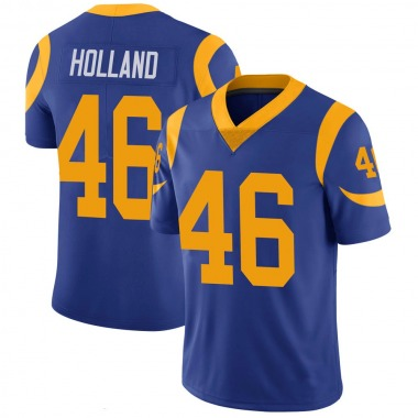 Men's Nike Los Angeles Rams Jeff Holland 100th Vapor Jersey - Royal Limited