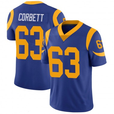 Youth Nike Los Angeles Rams Austin Corbett 100th Vapor Jersey - Royal Limited